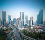 Modern city elevated road in shanghai Stock Image
