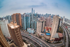 Modern city with fisheye view in shanghai Stock Photo