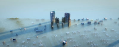 Modern city in fog. High angle view of a modern city in fog Stock Photo