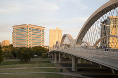Modern city Fort Worth on sunset TX. West 7th street bridge and downtown Fort Worth on sunset, TX USA stock photos