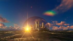 Modern city in a glass dome on ocean, sunrise stock video
