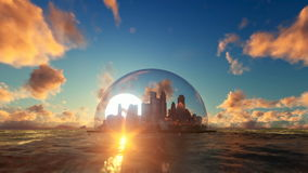 Modern city in a glass dome on ocean at sunset stock video footage