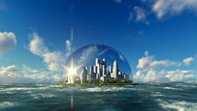 Modern city in a glass dome on ocean, timelapse sunrise stock illustration