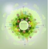Modern city.  Green planet, environmental concept illustration Royalty Free Stock Photo