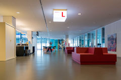 Modern city hall of Utrecht with waiting room for visitors Royalty Free Stock Photo