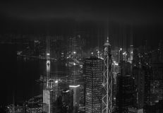 Modern city with illumination skyscraper black and white royalty free stock photo