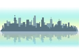 Modern city illustration. Illustration of a city contour against light sky mirrored in the water; Top and bottom margins are white faded for perfect website Royalty Free Stock Photography