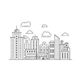 Modern city illustration. Black and white illustration with skyscrapers, different office building, church and clouds made in vector. Skyscraper collection Stock Photo