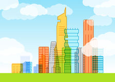 Modern city illustration. Lineart Royalty Free Stock Photos