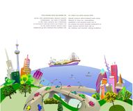 Modern city illustration sea cots Royalty Free Stock Photography