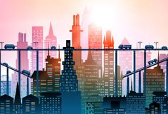 Modern city illustration with skyscrapers Royalty Free Stock Image
