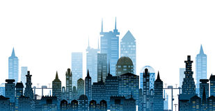 Modern city illustration with skyscrapers Stock Photo