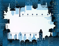 Modern city illustration with skyscrapers Stock Images