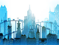 Modern city illustration with skyscrapers Stock Photography