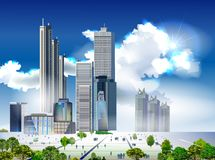 Modern city illustration with skyscrapers Stock Image