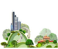 Modern city illustration with skyscrapers Royalty Free Stock Photos