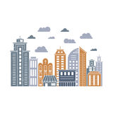 Modern city illustration. With skyscrapers, different office building, church and clouds made in vector. Skyscraper collection. Flyer or banner template with Royalty Free Stock Images