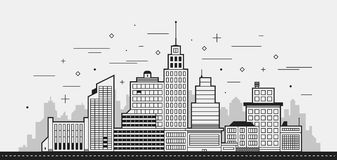 Modern city illustration. Towers and buildings in black and white contour style. On white background Royalty Free Stock Photography