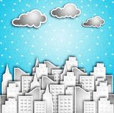Modern City In The Snow. Royalty Free Stock Images