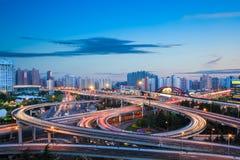 Free Modern City Interchange Overpass In Nightfall Royalty Free Stock Photography - 40739997
