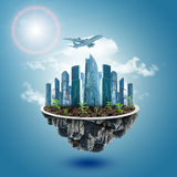 Modern city on island Royalty Free Stock Image