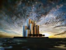 Modern city island Stock Photo
