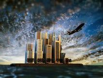 Modern city island Stock Images