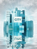 Modern city island with water reflections and sky render Royalty Free Stock Photos