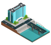 Modern City Isometric Composition Royalty Free Stock Image