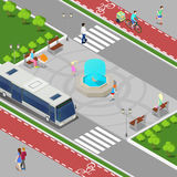Modern City Isometric Concept. City Fountain with Children. Bicycle Path with Riding People. Vector illustration royalty free illustration