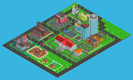 Modern City Isometric Map Stock Photos