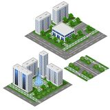 Modern City isometric set. Big office and shop building. Isolated modules