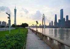 Guangzhou modern city landmark buildings of twilight Stock Photos