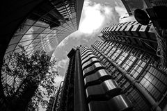 Modern City Landscape, London. Urban City landscape using a fisheye lens, London. Black and White conversion Royalty Free Stock Images