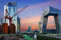 The modern city landscape in the sunset, Beijing, China Royalty Free Stock Images