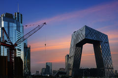 The modern city landscape in the sunset, Beijing, China Royalty Free Stock Photos