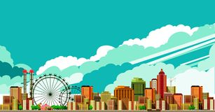 Modern city landscape. Vector illustration of a large metropolis panoramic view of the sky background Royalty Free Stock Photos