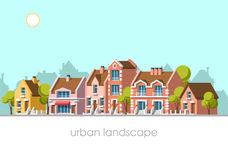 Modern city landscape. Modern city view. Traditional architecture landscape. Real estate. Flat vector illustration. 3d style Royalty Free Stock Image