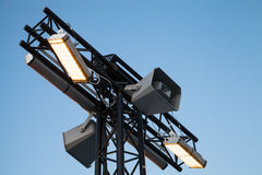 Modern city light pole with loudspeakers Royalty Free Stock Photography