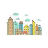 Modern city line. Modern city illustration with skyscrapers, different office building, church and clouds made in vector. Skyscraper collection. Flyer or banner Royalty Free Stock Photography