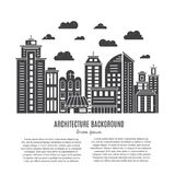Modern city line. Modern city illustration with skyscrapers, different office buildings and clouds made in vector. Collection with place for your text. Flyer or Stock Images