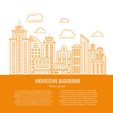 Modern city line. Modern city illustration with skyscrapers, different office buildings and clouds made in vector. Collection with place for your text. Flyer or Royalty Free Stock Photo
