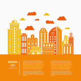 Modern city line. Modern city illustration with skyscrapers, different office buildings and clouds made in vector. Collection with place for your text. Flyer or Royalty Free Stock Images