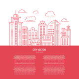 Modern city line. Modern city illustration with skyscrapers, different office buildings and clouds made in vector. Collection with place for your text. Flyer or Stock Photos
