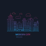 Modern city line. Modern night city illustration with skyscrapers, different office buildings and clouds made in vector. Collection with place for text. Flyer or Royalty Free Stock Image