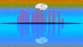 Modern City Lit by Colorful Light Effects.  Animation Concept for colorful vibrant skyline city, full moon stock video footage
