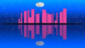 Modern city lit by colorful light effects.  Animation Concept for skyline city, full moon night. stock video