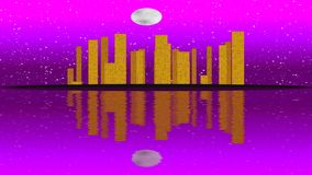 Modern City Lit by Colorful Light Effects.  Animation Concept for skyline city, full moon night. stock video footage