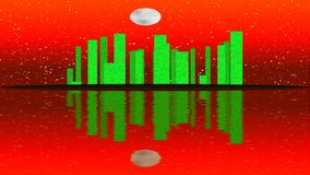 Modern City Lit by Colorful Light Effects.  Animation Concept for skyline city, full moon night. stock footage