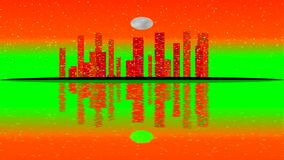 Modern City Lit by Colorful Light Effects.  Animation Concept for colorful vibrant skyline city, full moon stock footage